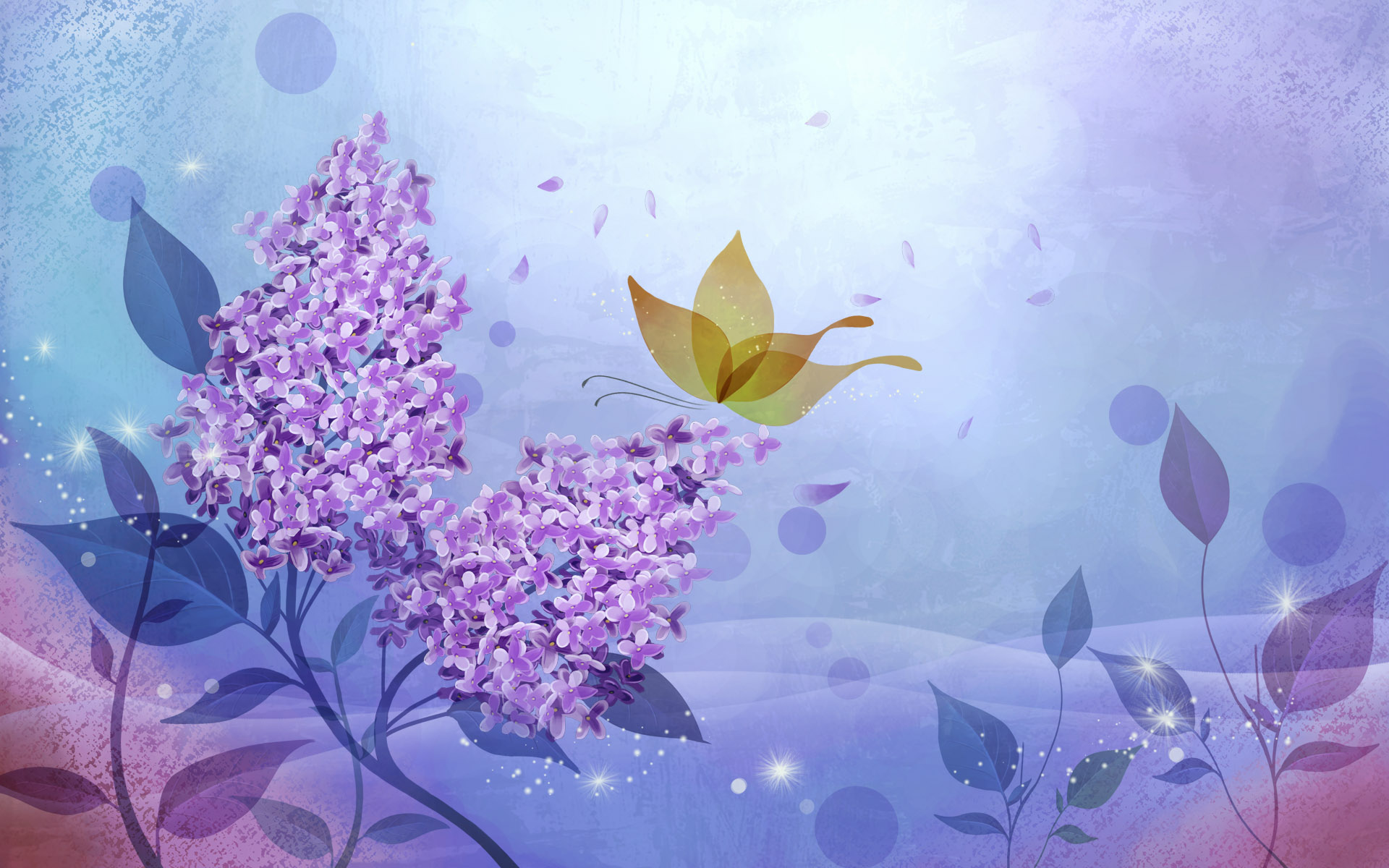 Wallpaper Vector background of flowers and butterflies x HD